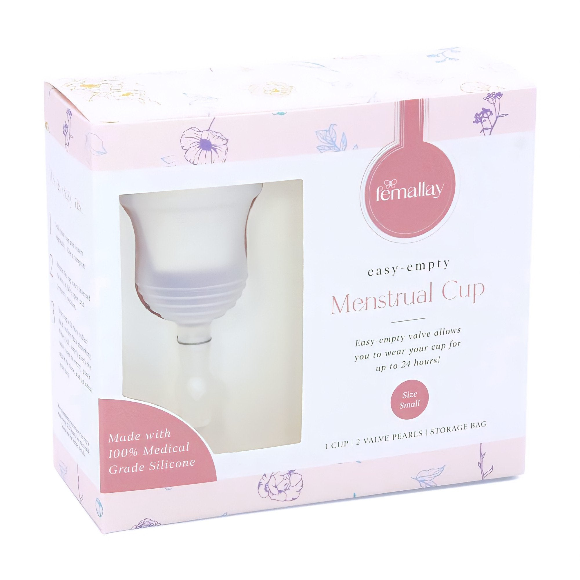 Femallay Easy-Empty™ Menstrual Cup with Valve & Pearl - Clear