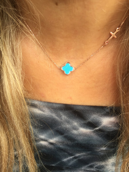 Turquoise Clovers Necklace