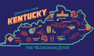 Kentucky Vintage Map Tee (Navy)