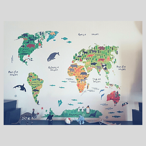 World map wall sticker for kids watermelon warehouse my little world wall sticker gumiabroncs Image collections