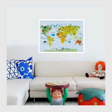 Animals World Map Canvas-Watermelon Warehouse