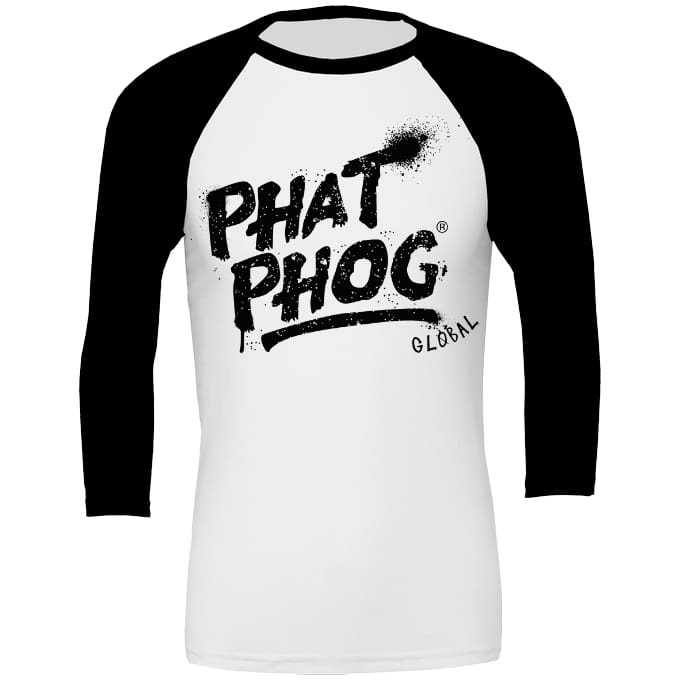 Phatphog Baseball Top Unisex - White With Black / Xs (31/34 Inch Chest) - Apparel
