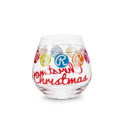 Merry Christmas Stemless Glass