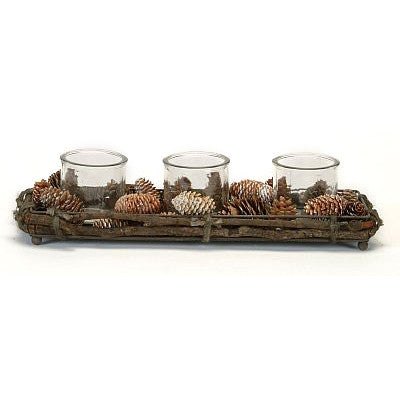 3 Candle Centerpiece with Pinecones