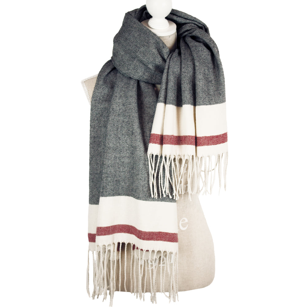 Oversized Mix Grey Scarf with Tassles