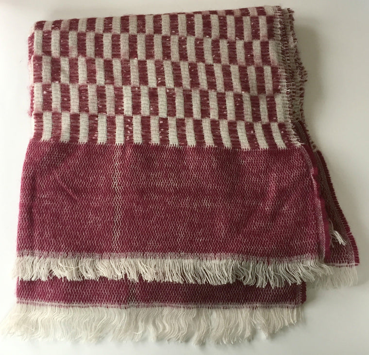 Red and White Long Rectangle Scarf