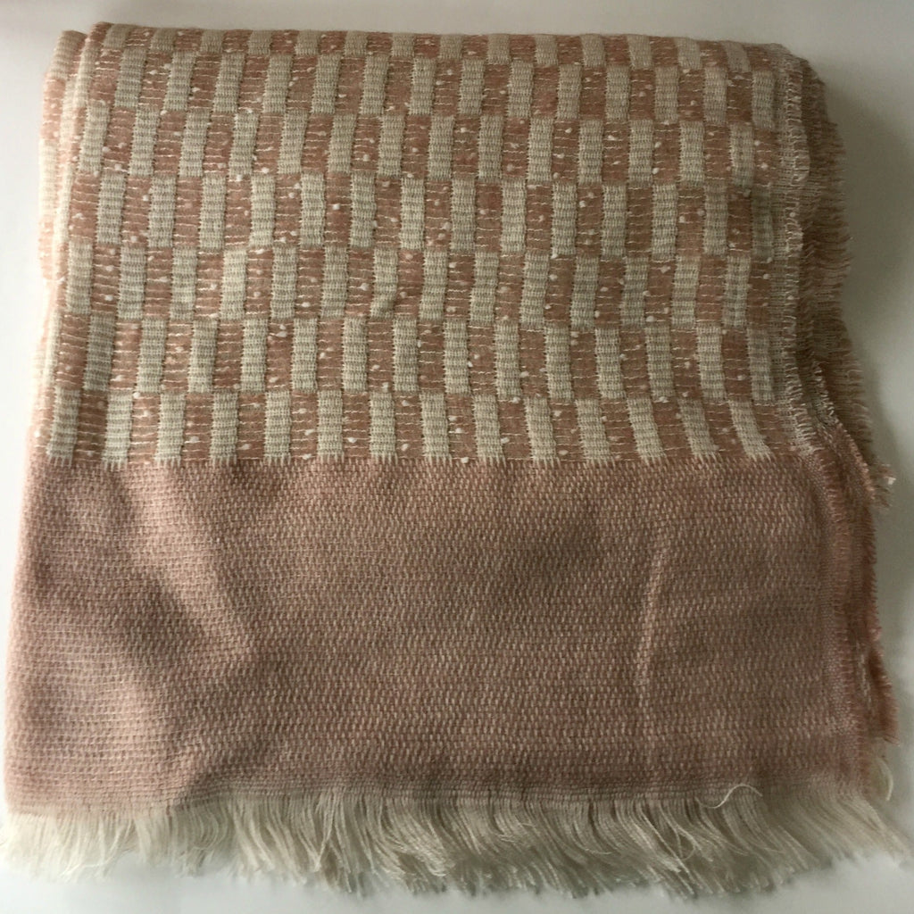 Soft Pink and White Long Rectangle Scarf