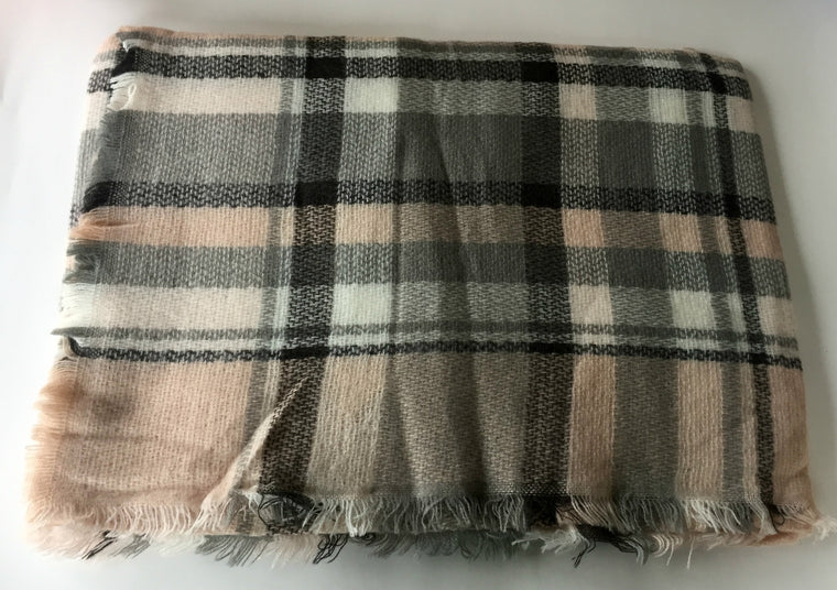 Pink and Grey scuare Scarf