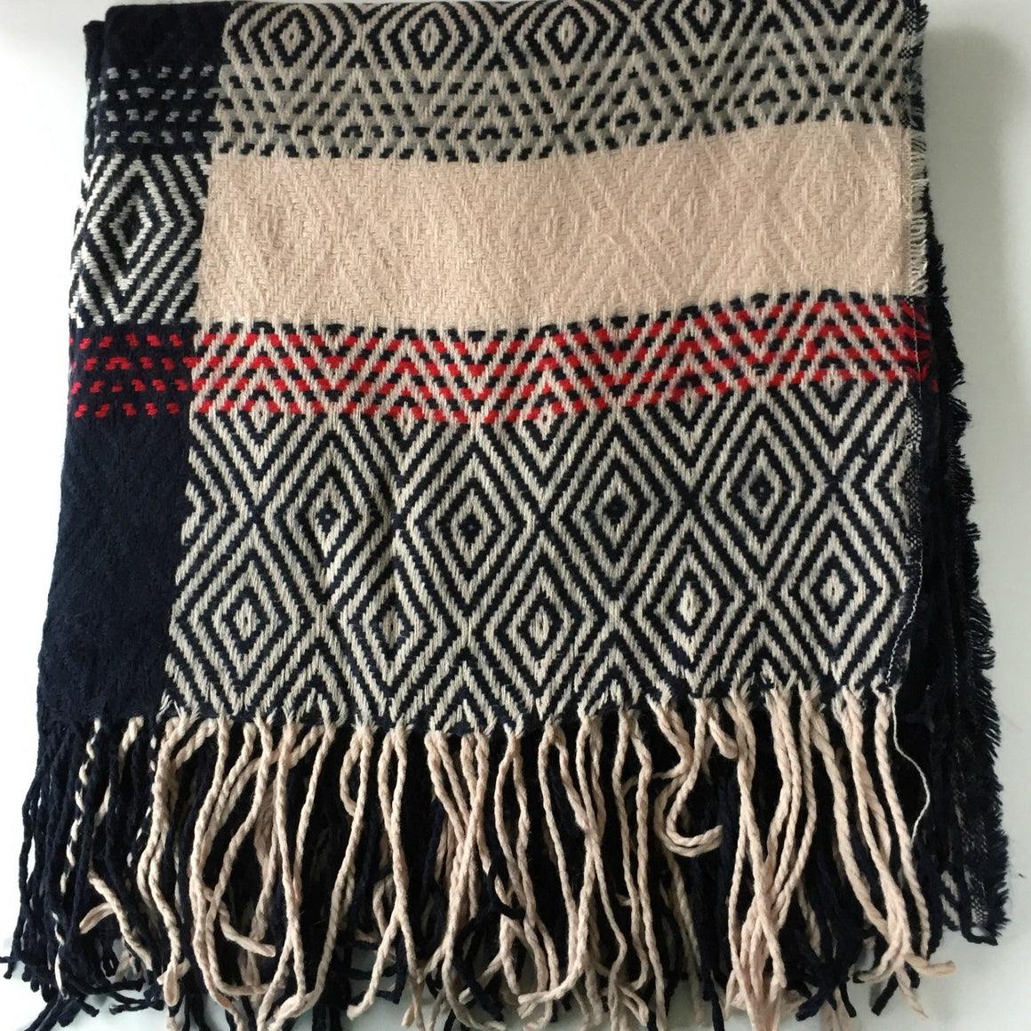 Navy, Pink and Red Oversized Scarf