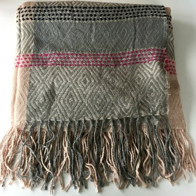 Grey, Pink Over sized scarf