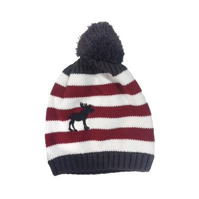 Canada Striped Pompom Toque with Moose