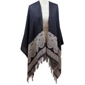 LACE PATTERN BLACK RUANA WITH FRINGE