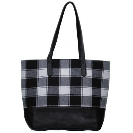 TWO TONE TOTE BAG PLAID