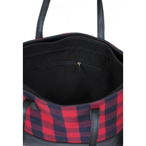 TWO TONE TOTE BAG RED PLAID FAUX LEATHER