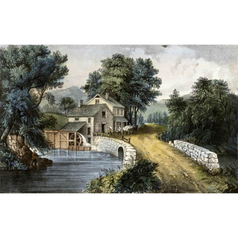 ROADSIDE MILL By Currier & Ives-Art Print-Style Home Art