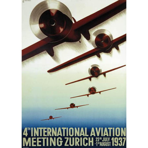 4TH MEETING AERONATIQUE INTERNATIONAL By Otto Baumberger-Art Print-Style Home Art