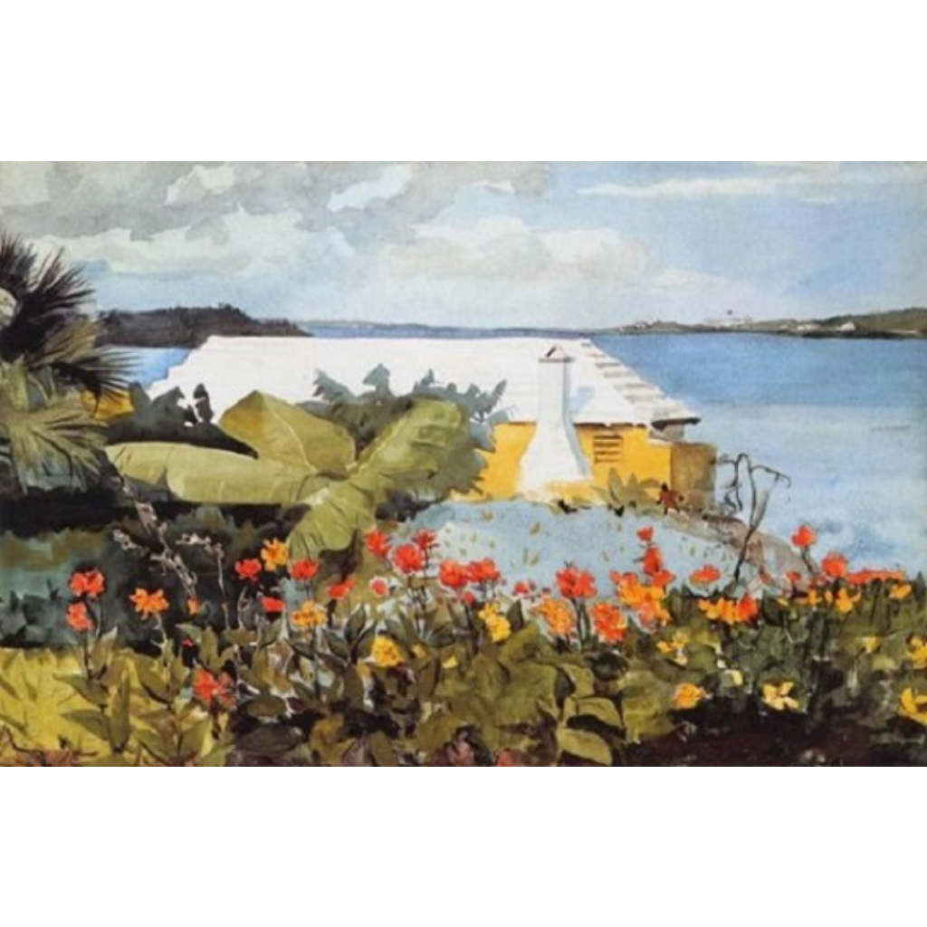FLOWER GARDEN AND BUNGALOW BERMUDA By Winslow Homer-Art Print-Style Home Art