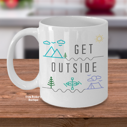 GET OUTSIDE  Nature Lovers Quote Mug