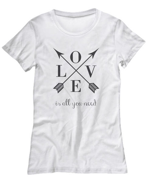 Love is all You Need | Women's Quote T-shirt | Retro Arrow