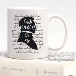 TALK DARCY to ME  Funny Mug, Bookworm Gift