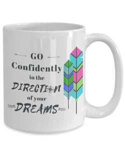 "Mug - ""Go Confidently"" Thoreau Quote Mug"