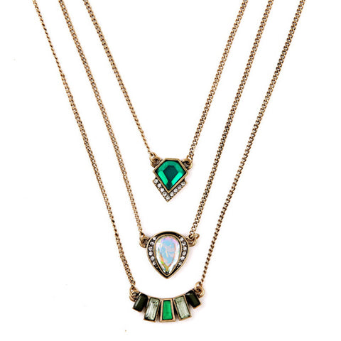 Necklaces - Vintage Emerald Green, Crystal Gem Necklace