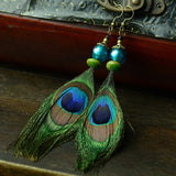 Peacock Feather Drop Bead Earrings