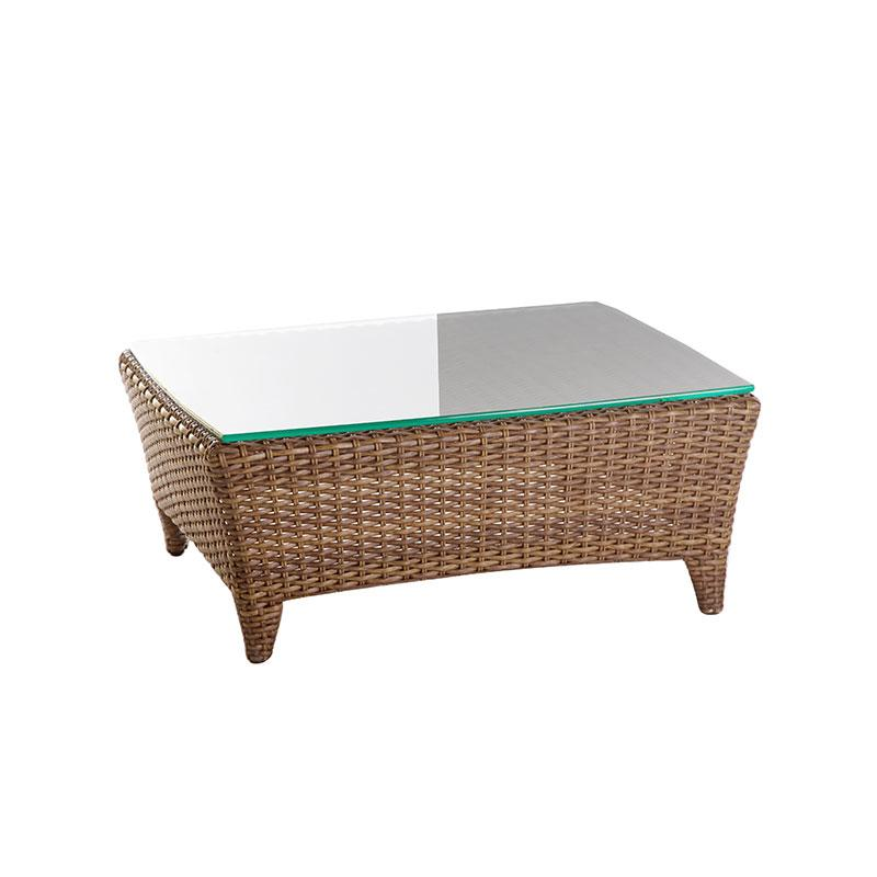Enclover Outdoor Patio Coffee Table with Glass Top