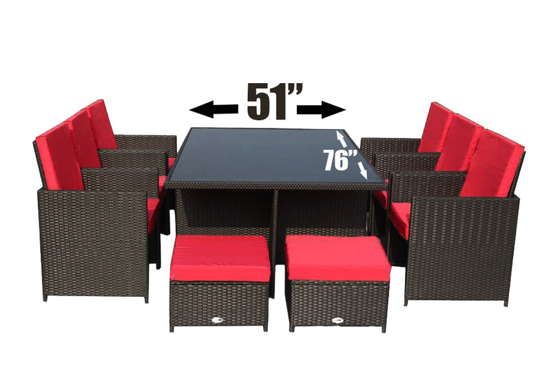11pcs Brown with Red Cushions Outdoor Dining Patio Furniture Set Aluminum Frame **