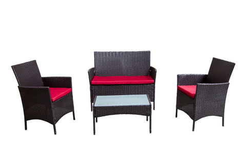 4 Piece Outdoor Patio Furniture Set Bistro - Red