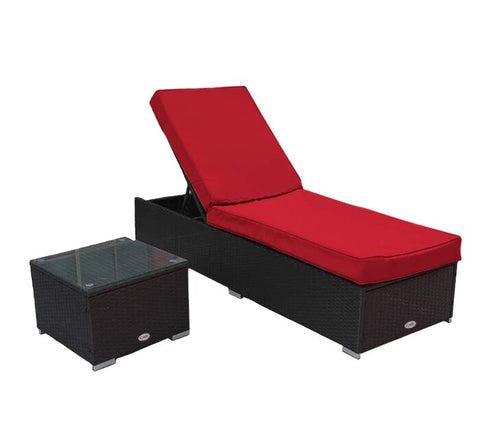 Chaise Patio Lounge Dark Brown & Red Cushion with Side Table