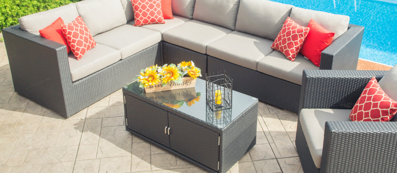Enclover Outdoor Patio Coffee Table with Glass Top & Optional Storage