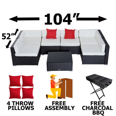 7pcs Outdoor Patio Furniture Sectional Conversation Set Steel Frame - PICKUP ONLY OR LOCAL DELIVERY