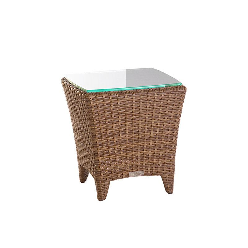Enclover Outdoor Patio End Table with Glass Top