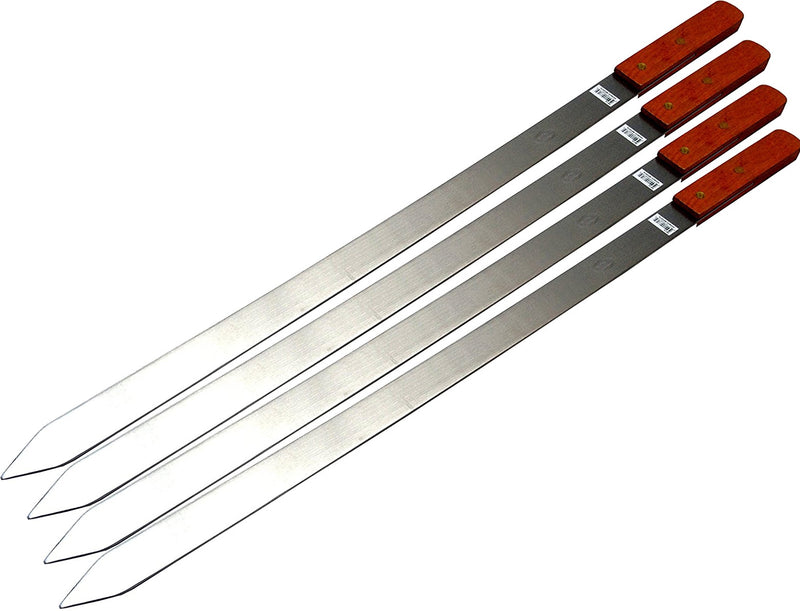 Premium Large 23-Inch Stainless Steel Brazilian Barbeque Style BBQ Skewers (4-Pack)