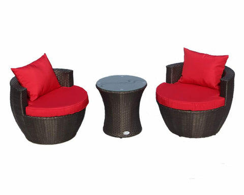 Stackable Dark Brown with Red Cushions 3pcs Outdoor Patio Furniture Set Bistro Set