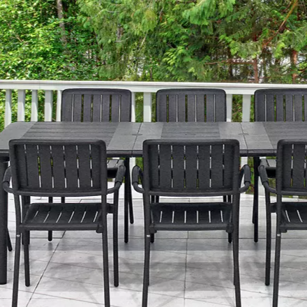 Nardi Maestrale Patio Dining Table with 8 Musa Armchairs in Charcoal
