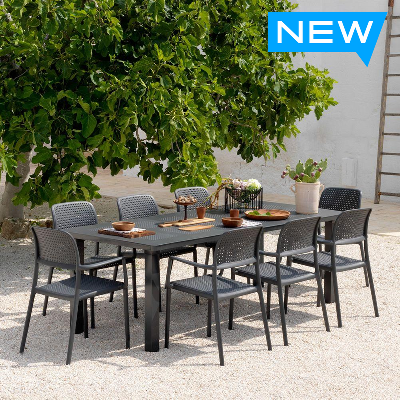 Nardi 9-piece Libeccio 88 in. x 40 in. Patio Dining Table with 8 Bora Armchairs