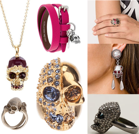 Designer Swarovski skull earrings, rings and necklaces dominate this season's catwalks