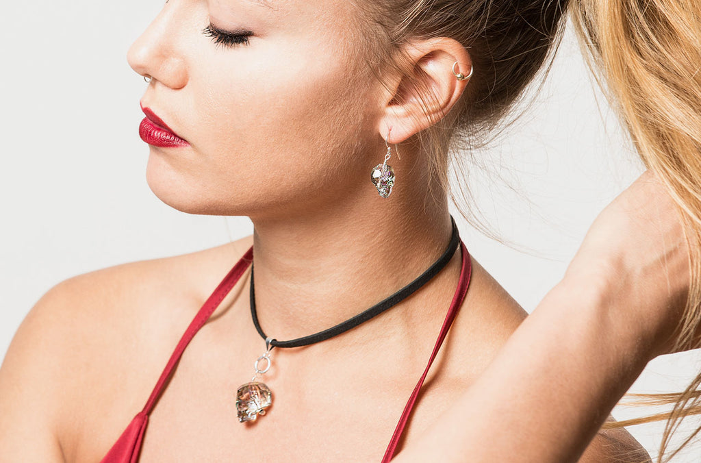 Metro boho Swarovski skull necklace and earrings