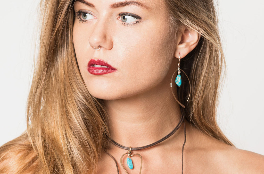 Urban boho jewellery set of artisan turquoise necklace and earrings