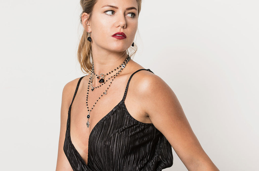 Boho gypsy necklace combines beautifully with a classic little black dress