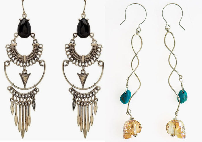 The new Bohemian urban boho earrings in sterling with rare turquoise and Swarovski crystal