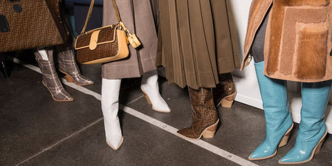 Boho boots backstage at 2018 fashion shows