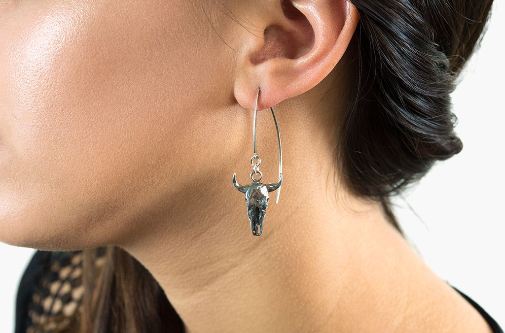 Sterling silver boho steer skull earrings