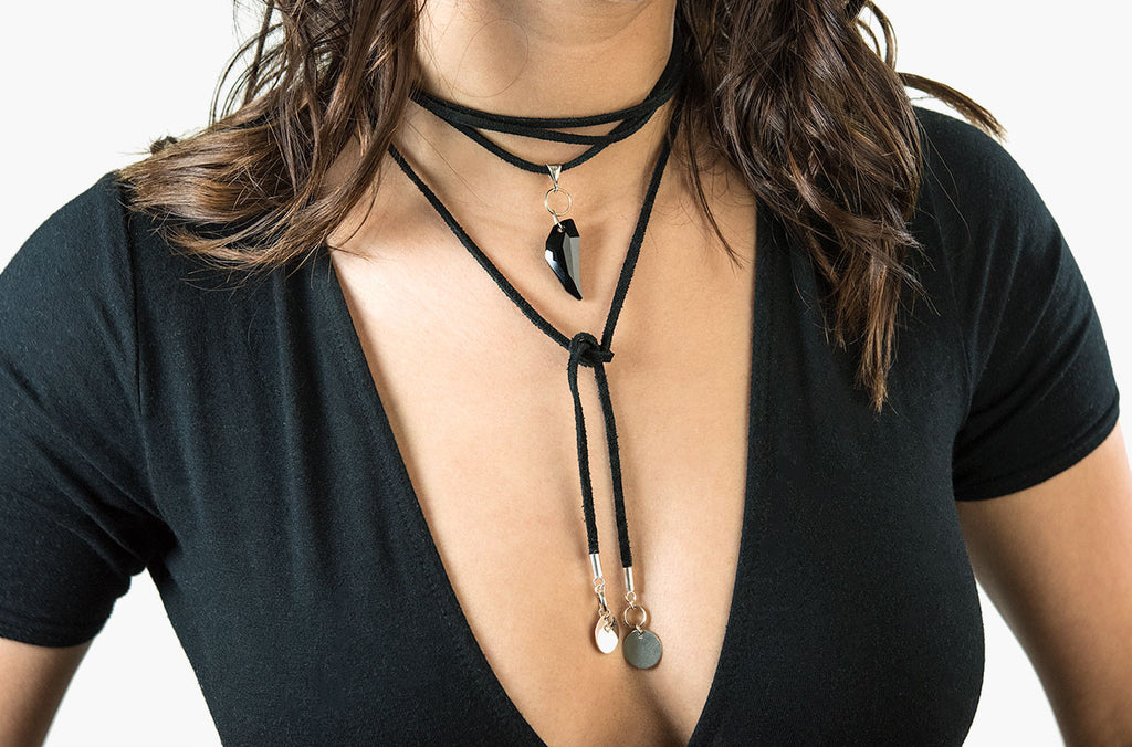 Edgy urban boho leather wrap necklace - modern hippy chic boho jewellery