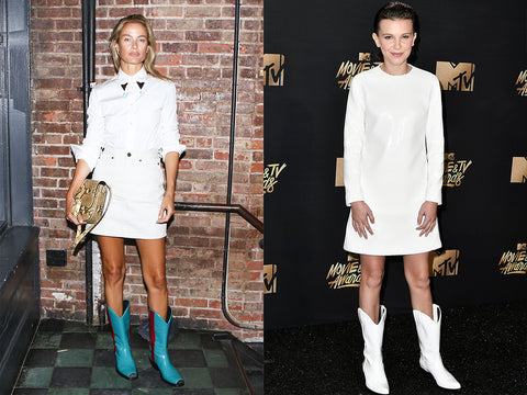 Boho cowboy boots are just so spunky gorgeous with demure white dresses