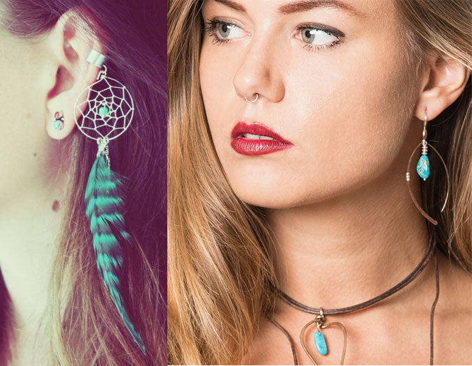 Go classy not fussy: Exquisite artisan made urban boho earrings and necklace with rare Arizona turquoise.