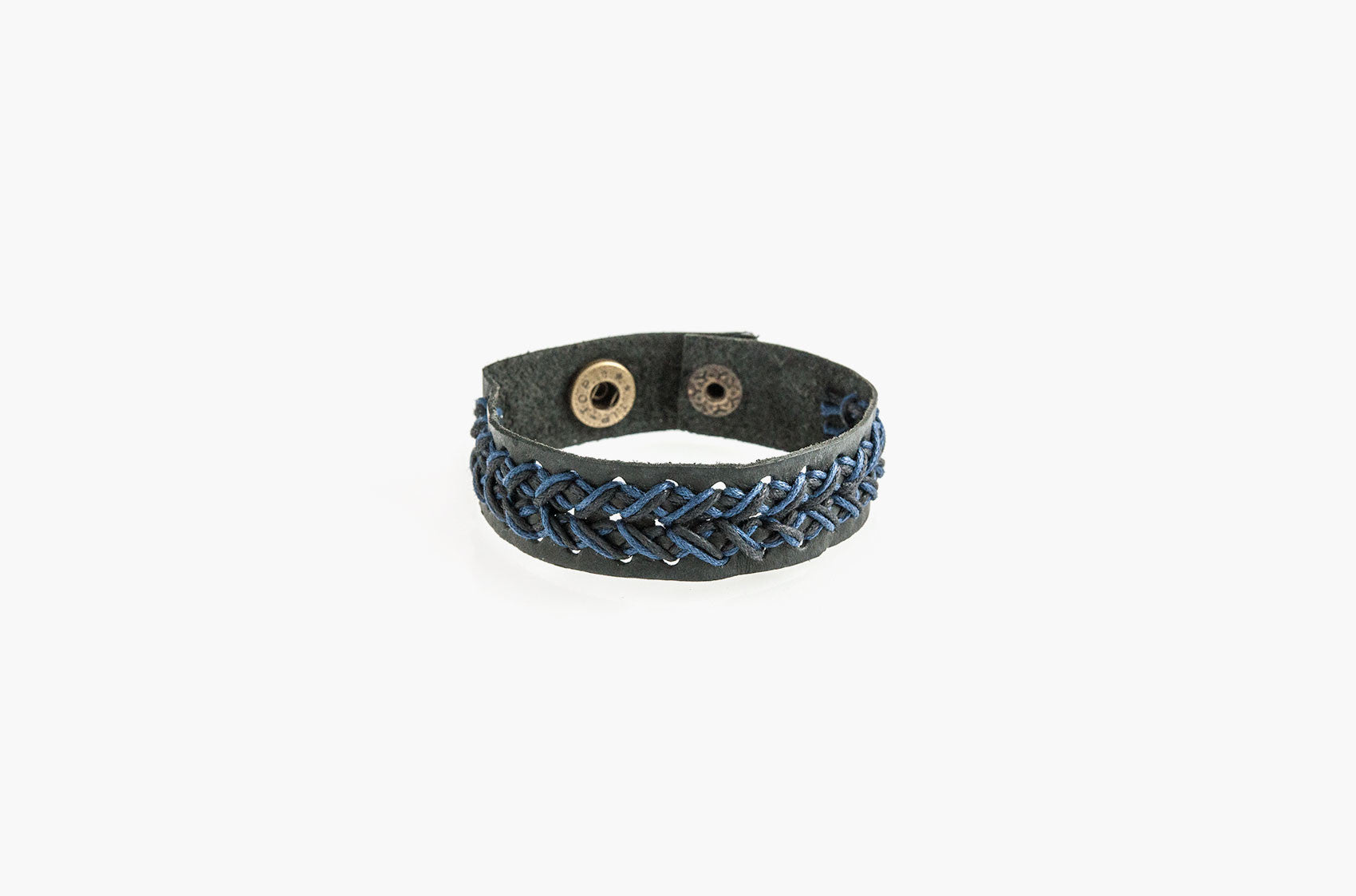 Black leather and blue cord stitched bracelet