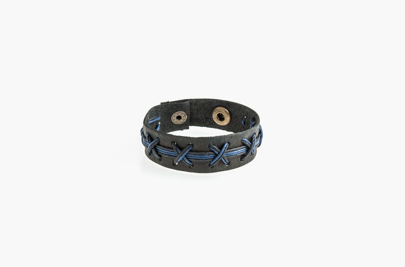 Black leather blue cross stitched bracelet